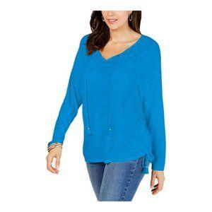 Style & Co. Womens Tie-Neck Top Peri Dream Blue